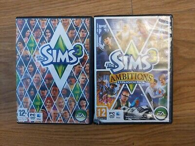 The Sims 3 Base Game & Ambitions Expansion Pack PC CD Inc Keys - Free P&P • 9.99£