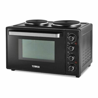 £99.99 • Buy Tower 32L Table Top Compact Electric Mini Oven In Black With 2 Hotplates T14044