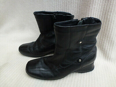 Ladies Pavers Comfort Black Leather Low Wedge Ankle Boots Size 38 Size 5 • 9.99£