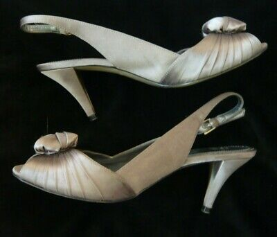 Laura Ashley Size 5 Satin Affect Sling Back Shoes Colour Taupe  • 6£