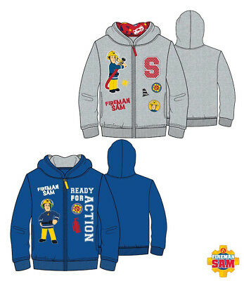 Boys Sweater Jacket Fireman Sam Casual Jacket Blue Grey 98 - 128 #83 • 21.79£