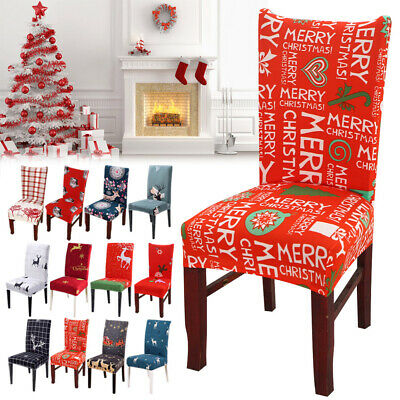 Christmas Chair Covers Slipcover Stretch Short Dining Chair Protector Cover Seat • 3.99£