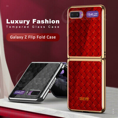 AU25.83 • Buy For Samsung Galaxy Z Flip Marble Tempered Glass Hard Plating Frame Cover Case