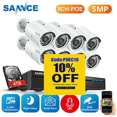 AU279.89 • Buy SANNCE 8CH 5MP POE NVR CCTV IP Network Security Camera System Home Network 0-4TB