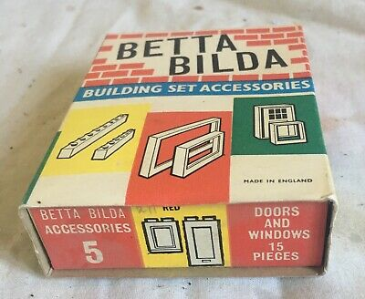 Vintage Betta Bilda Accessory Pack No 5 Doors And Windows Red Complete  • 5.99£