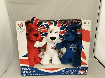 Team GB Pride The Lion Mascot Plush Soft Toy Boxset Of 3 Red White Blue Olympics • 24.99£
