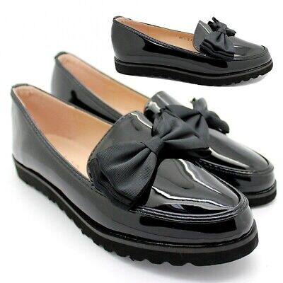 Womens Ladies  Flat Creeper Chunky Sole School Work Dolly Bow Loafers Shoes Size • 14.95£