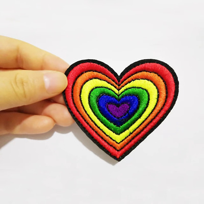 £2.79 • Buy Rainbow Heart & Star Patch Patches Clothes Iron On Sew On Embroidered Badge