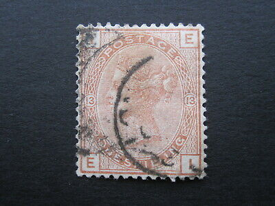 Gb Stamp - Queen Victoria - Sg163  1/- Brown - Plate 13 - Used Cat £170 • 2.24£