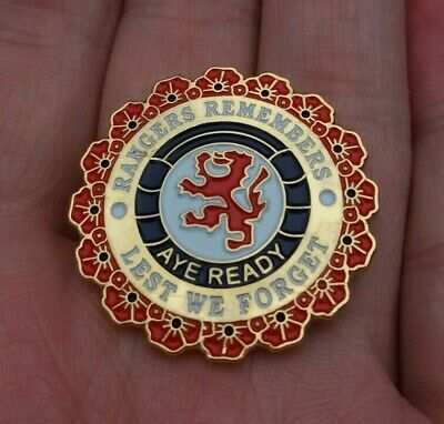 £11.95 • Buy Rangers Remembers Lest We Forget Remembrance Poppy Pin Badge Vgc