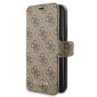 Genuine GUESS 4G Collection Stand Book Case For IPhone 12 & 12 Pro In Brown • 24.65£