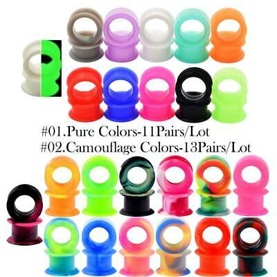 $4.99 • Buy 1 Pair Flexible Silicone Skin Tunnels Plugs Ear Gauges Earskin Earlets 6mm-25mm