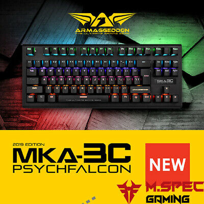 AU54 • Buy Gaming PC Keyboard 87 Keys Mechanical Blue Switch Multi-Color ARMAGGEDDON MKA-3C
