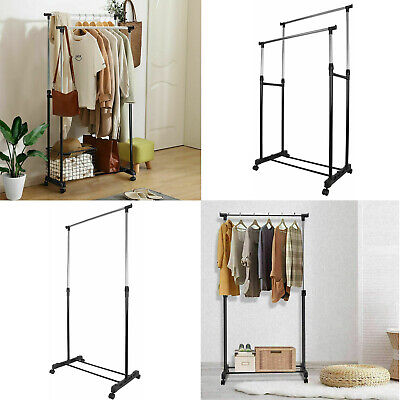 Adjustable Mobile Tidy Clothes Rail Coat Garment Hanging Rack Shoe Storage Stand • 10.49£
