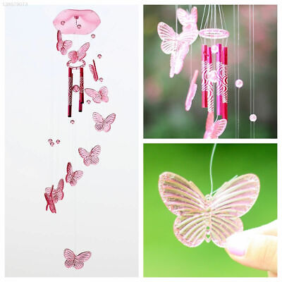 Pink Crystal Butterfly Wind Chime Bell Ornament Garden Living Hanging Decor Art • 5.62£