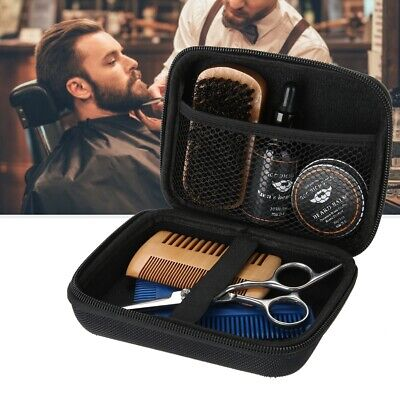 Beard Styling Set Mustache Hair Care Tool Brush Comb Oil Wax Scissor Kit Gift • 13.99£