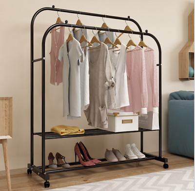 Metal Clothes Double Rail Heavy Duty Garment Hanging Rack Shop Use Display Stand • 35.99£