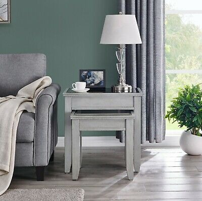 Grey Mirrored Nest Of Tables Side End Living Room Glass Furniture Russell  • 270.99£