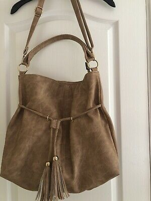 Large Tan Faux Leather Cross Body Tote Slouch Hobo Bag With Long Strap NEW • 5.50£