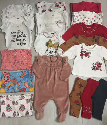 Baby Girls Clothes Bundle 0-3 Months Next Floral Sleepsuits Disney Vests Outfits • 8.50£