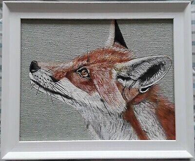Original Wildlife Red Fox Picture Painting Susie Watson Sea Green Fabric  • 40£