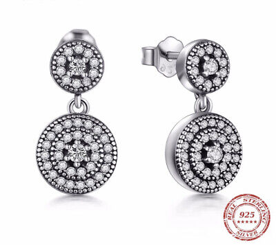 New 925 Sterling Silver Sparkling Elegance Pendant Drop Earrings With Gift Box • 16.99£