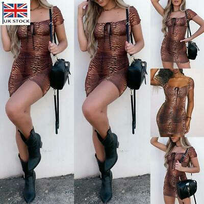Women Sexy Leopard Print Bodycon Mini Dress Ladies See Through Sundress Clubwear • 5.79£