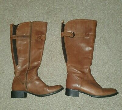 Womens Leather Knee High Boots UK Size 6 Wide Leg Fit • 24.99£