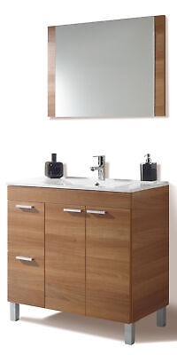 Aktiva Bathroom Cabinet Walnut 80x45x80h CMS 2 Drawers+2 Door+Mirror • 147.88£