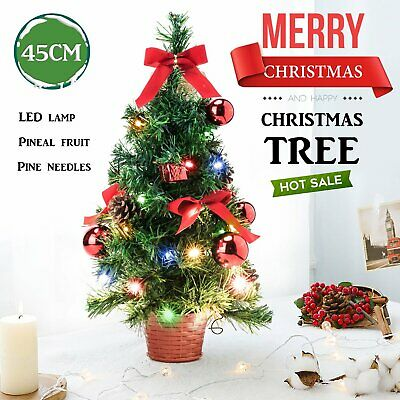 Christmas Table Top Desk Artificial Small Mini Xmas Tree With LED Lights 45 Cm • 6.88£