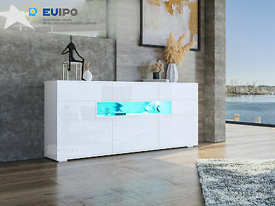 LED Light High Gloss 150cm 3 Drawers 5 Doors Sideboard Buffet Cabinet Cupboard • 159.99£