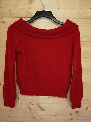 Kids H&M Off The Shoulder Jumper. Raspberry Red. Size 8-10 Years • 8.99£