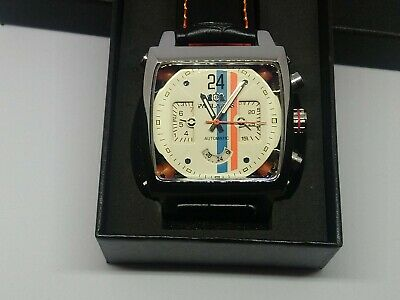 Mens Watch Racing Le Mans Steve McQueen Monaco  Porsche Gulf  Goodwood With Tag • 59.99£