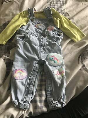Tu Girls Dungarees Outfit Age 6-9 Months  • 0.99£