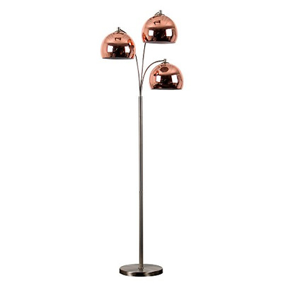 Modern Designer Style 3 Way Brushed Chrome Floor Lamp - Complete With Mini Arco • 101.70£