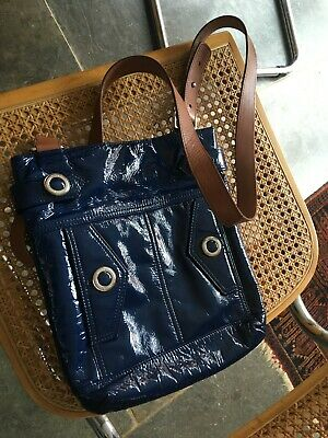 Womens Cross Body Bag Jaeger Blue Patent Leather Tan Strap Vgc • 12£