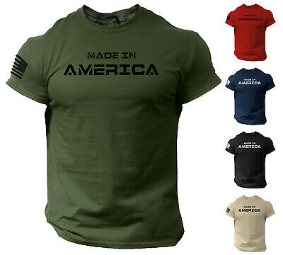 $13.90 • Buy Made In America T Shirt USA Flag Military Patriotic Tee