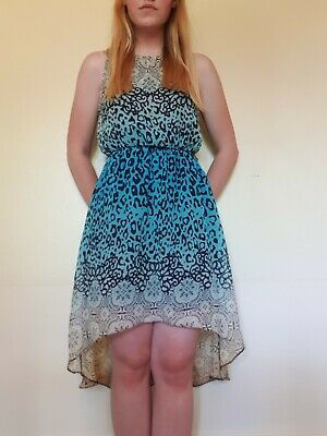 Women's Patterned High Low Summer Dress Size 10 Blue/White/Cream Coloured • 6.50£