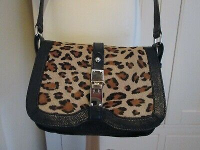 M&S Autograph Animal Print Hair Hide And Black Leather Shoulder/Cross Body Bag  • 20£