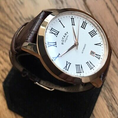 Mens Genuine Rotary London Automatic Rose Gold Leather Roman White GS00156/06 • 127£