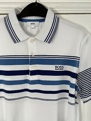 White And Blue Striped Boys Hugo Boss Polo Shirt Aged 14S (slim Fit) • 4.99£