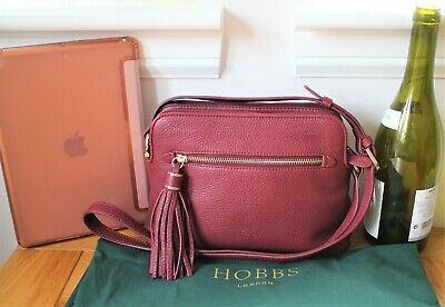 Hobbs BNWOT Butter Soft Burgundy Leather 'Helmsley' Cross Body, Satchel Bag • 38£