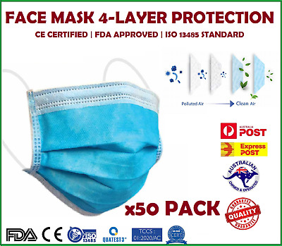 AU24.95 • Buy 50 PCS FACE MASK 4-LAYER Disposable Anti-Bacterial Protective Filter - AU STOCK