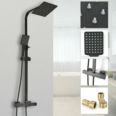 Black Shower Set Bathroom Thermostatic Mixer Square Twin Head Exposed Valve UK • 59.99£