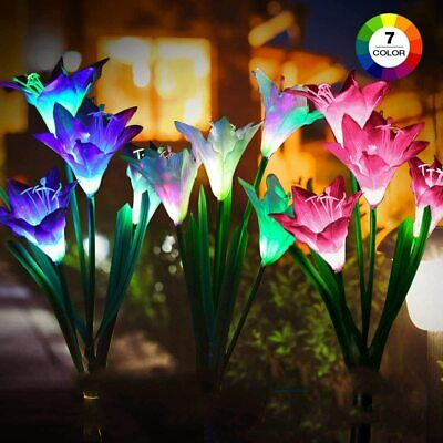 3 Pack LED Solar Color Changing Lily Flower Light Garden Stake Yard Path Lamp • 3.29£
