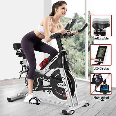 Silver Exercise Bike Home Gym Bicycle Cycling Cardio Fitness Training Indoor • 164.99£