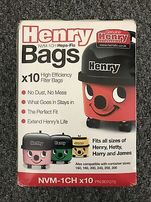 9 X Genuine Numatic Henry Hetty Hepa-Flo Filter Hoover Bags NVM-1CH 907075 • 5.50£