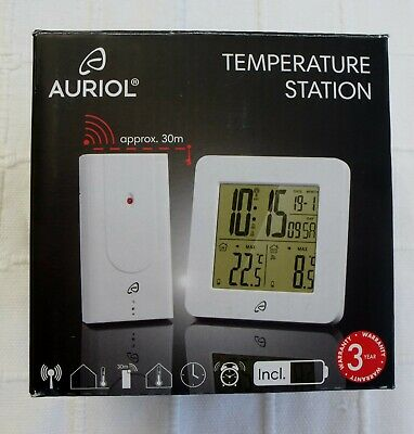 Auriol Radio-controlled Temperature Station. Brand New In Box. • 10.99£