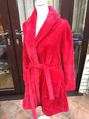 Ladies Red Velour Dressing Gown - Size 14-16 - Feel Fabulous • 10£