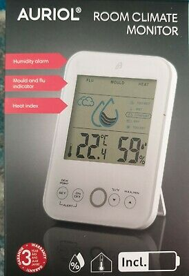 Auriol Room Climate Monitor Humidity-mould And Flu-heat Index • 13.95£